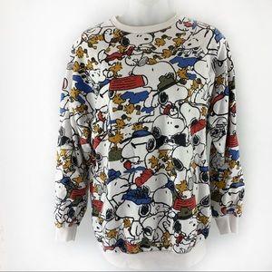 Zara Trafaluc Woodstock Snoopy Crewneck Sweatshirt